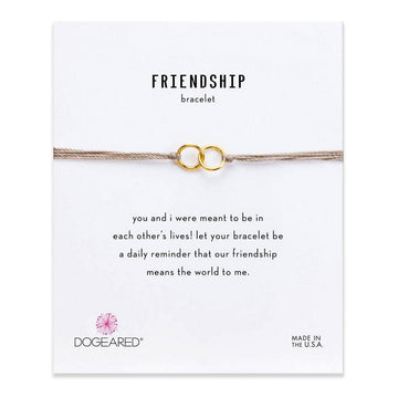 double-linked rings friendship bracelet, taupe silk + gold dipped