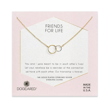friends for life linked rings necklace, gold dipped & sterling silver