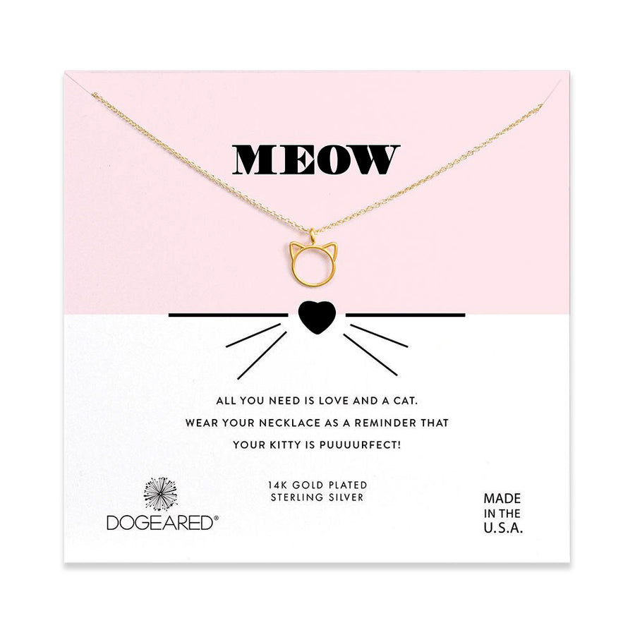 meow cat charm necklace, gold dipped