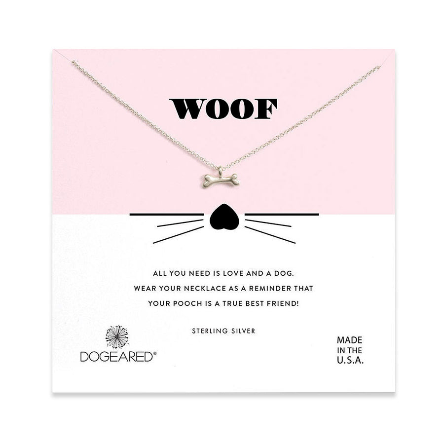 woof dog bone charm necklace