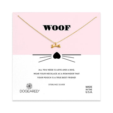 woof dog bone charm necklace, gold dipped