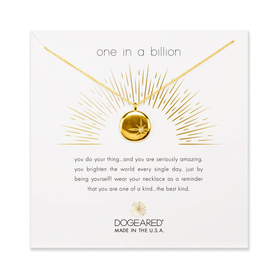one in a billion, sparkle star disc necklace, gold dipped
