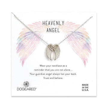 heavenly angel sliding angel wings necklace, silver plated