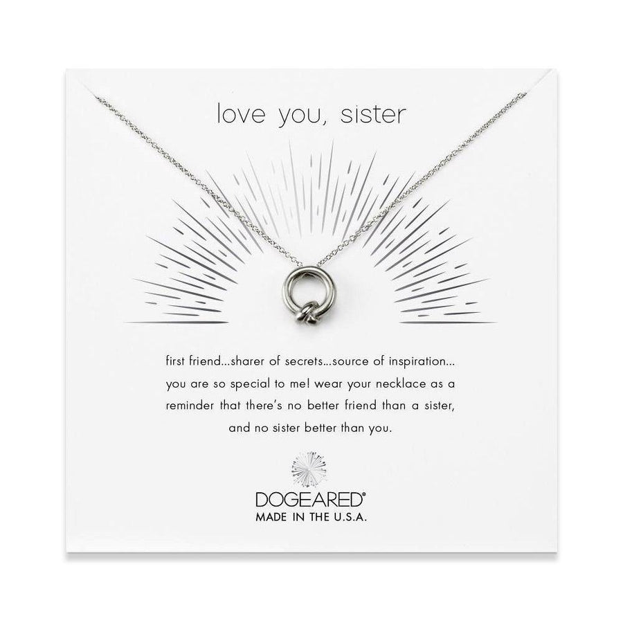 love you, sister necklace, sterling silver