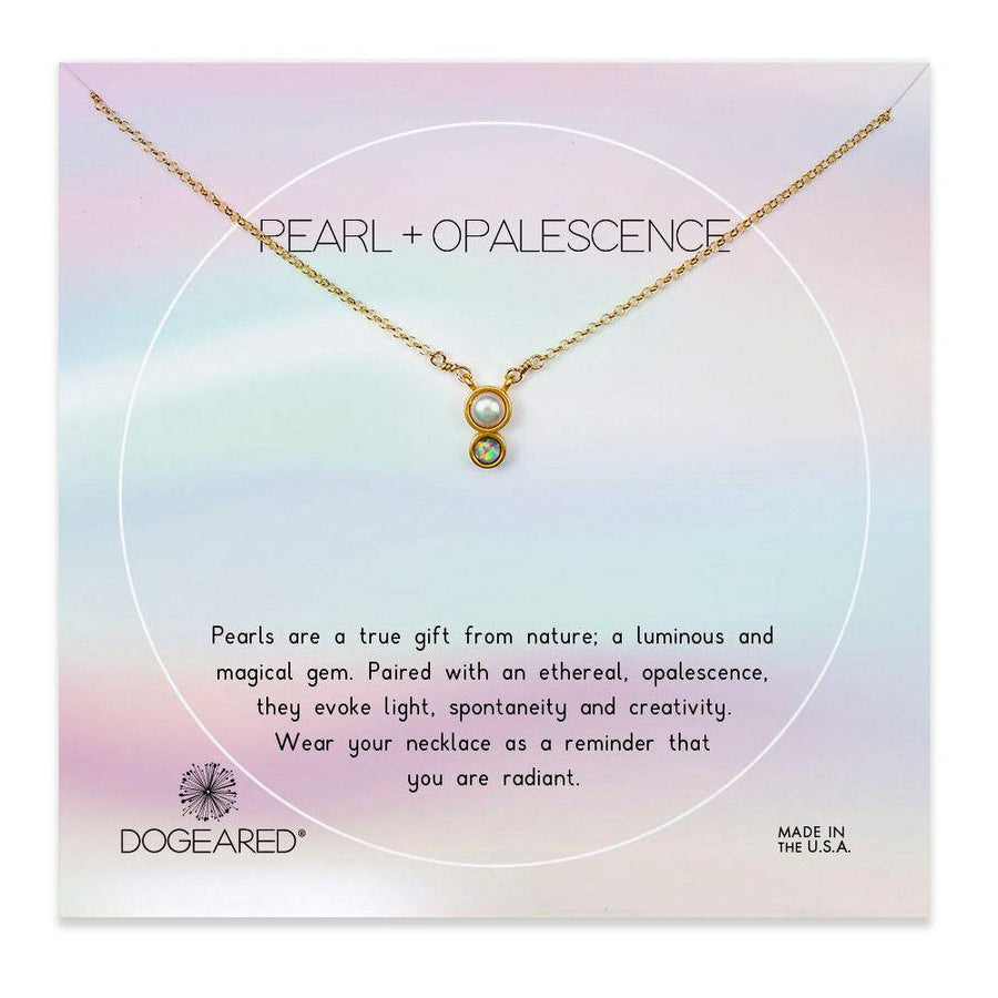 pearl + opalescence duo necklace, gold dipped