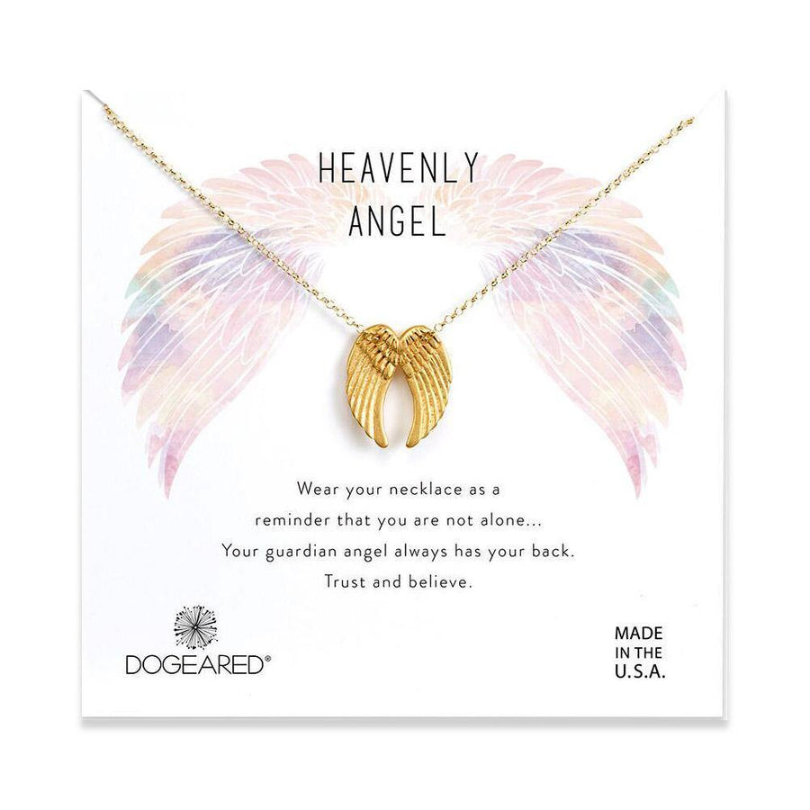 heavenly angel sliding angel wings necklace, gold plated
