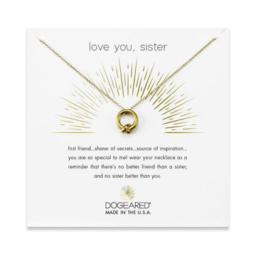 love you sister necklace, gold dipped