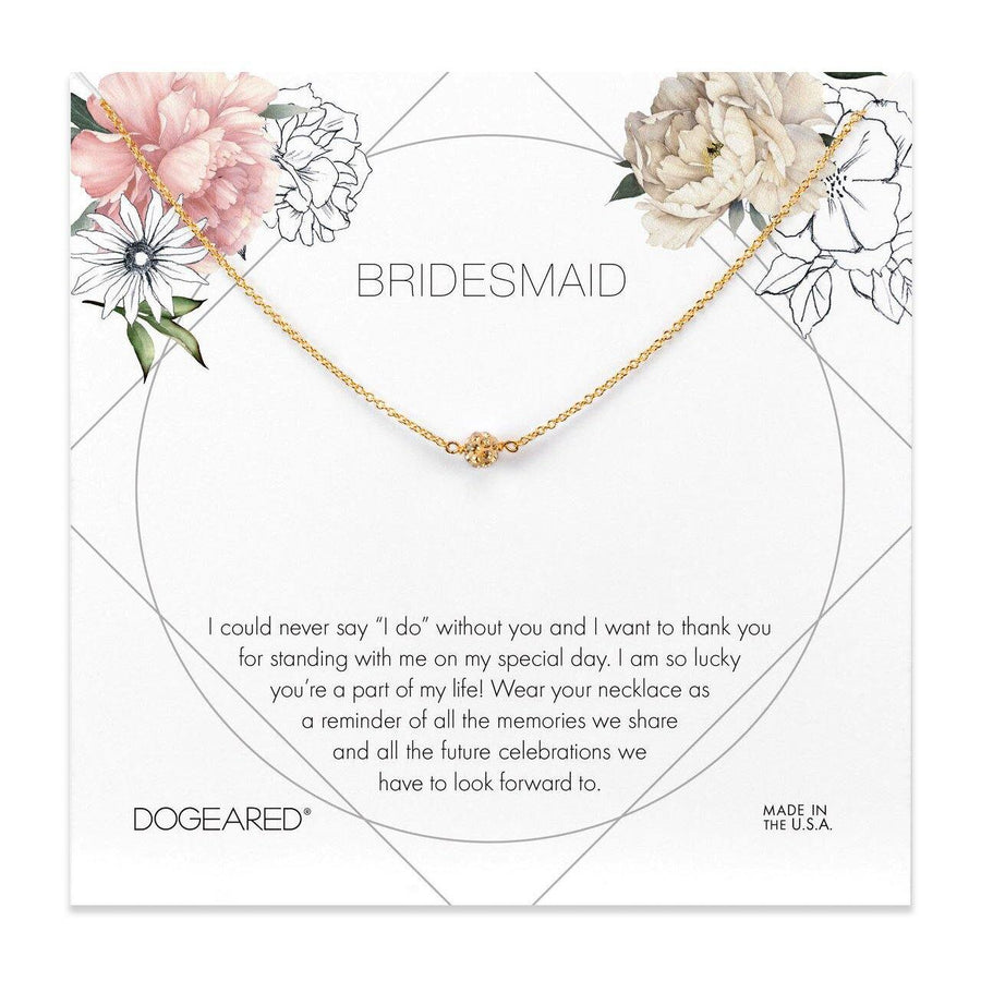 bridesmaid flower card, pave sparkle ball necklace
