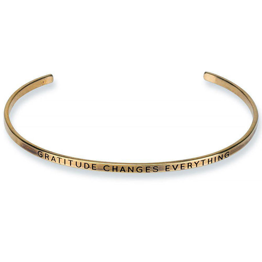 gratitude changes everything engraved thin cuff, gold