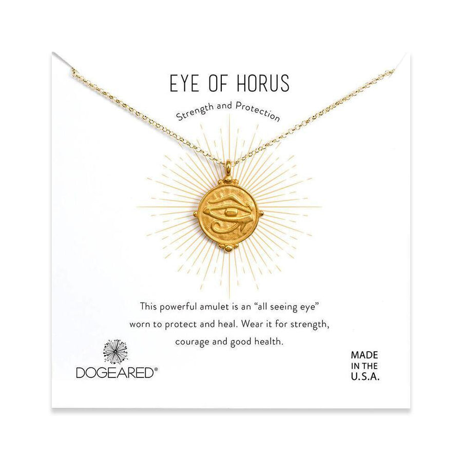 eye of horus coin necklace, gold plated