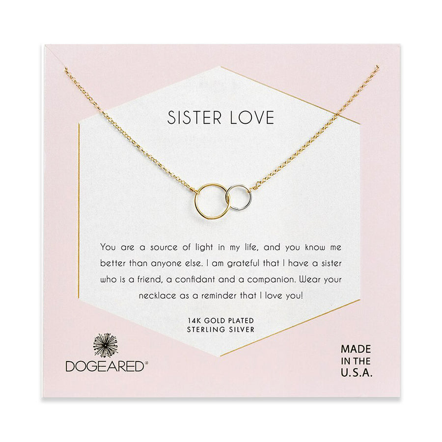Sister love, two mixed metal linked rings necklace, gold dipped