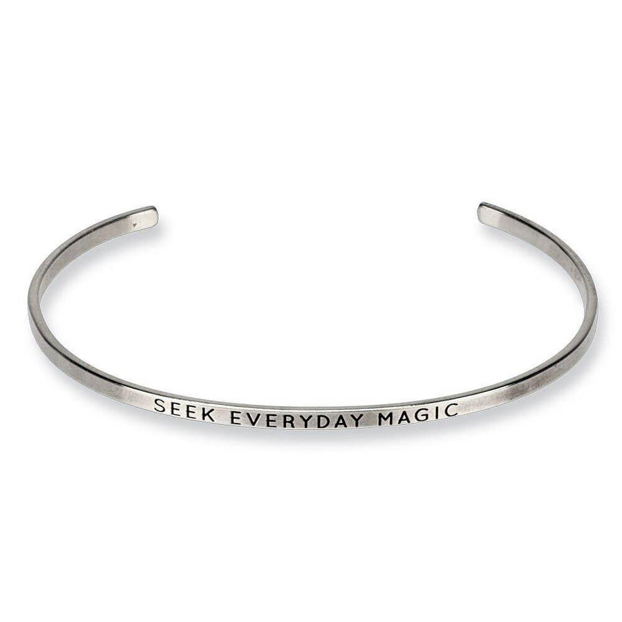 seek everyday magic, engraved thin cuff
