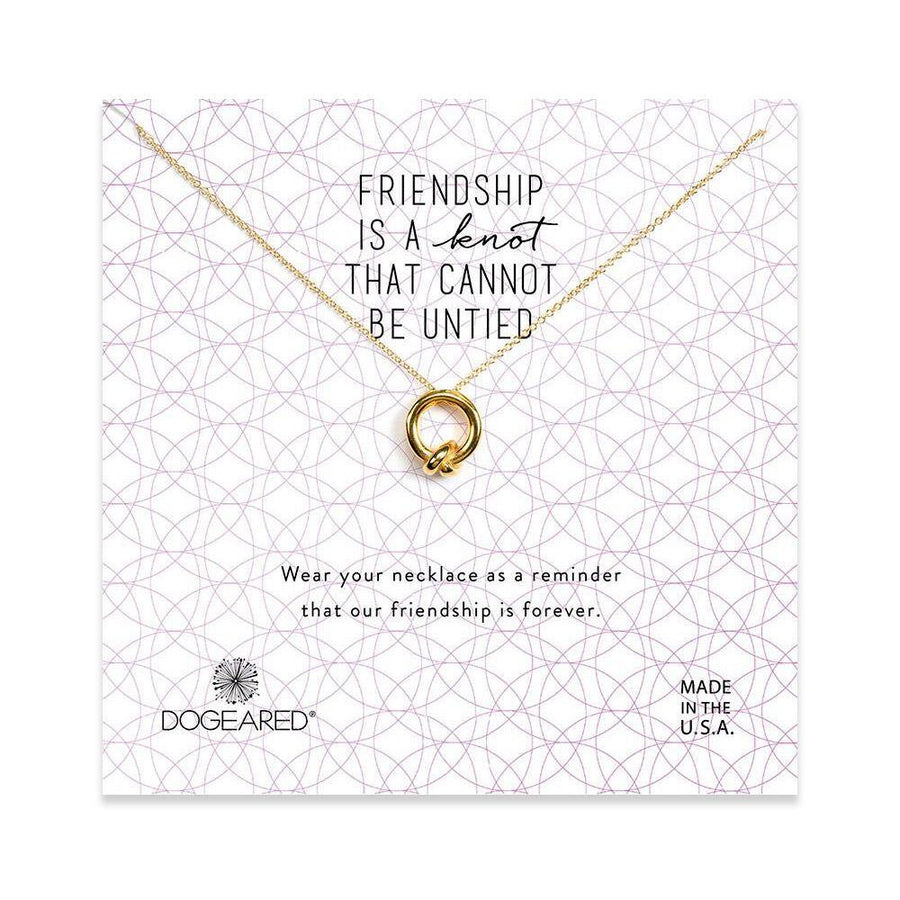 friendship is a knot charm necklace, gold dipped