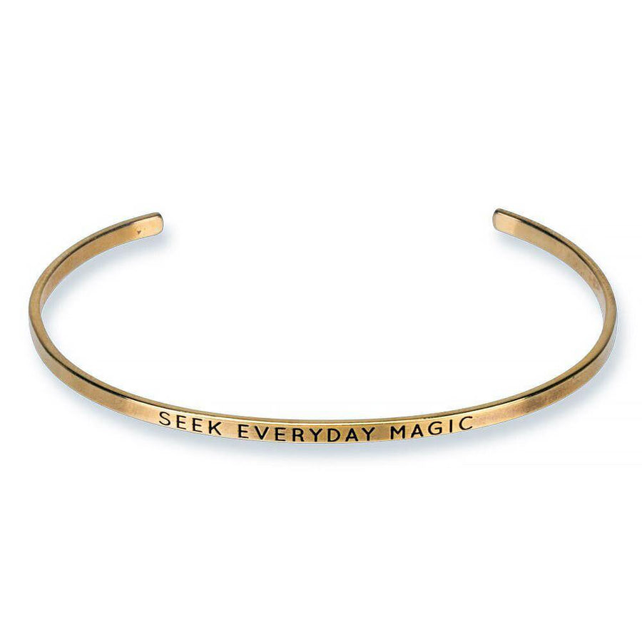 seek everyday magic, engraved thin cuff, gold