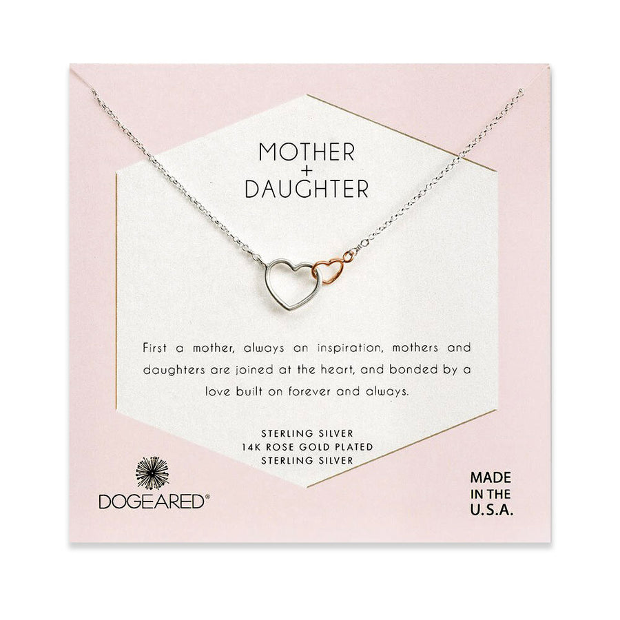 mother + daughter linked hearts necklace
