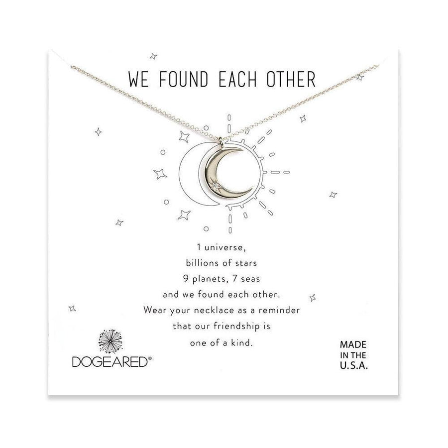 we found each other crescent moon necklace