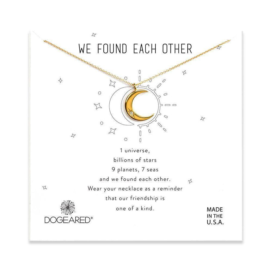 we found each other crescent moon necklace, gold dipped