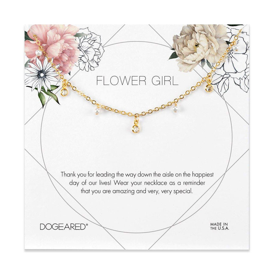 flower girl flower card, dangling pearl and cubic zirconia