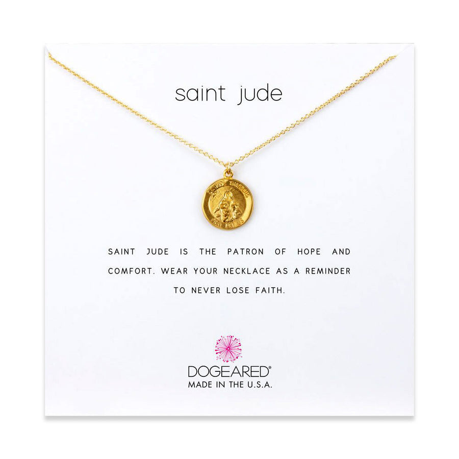 saint jude necklace, gold dipped