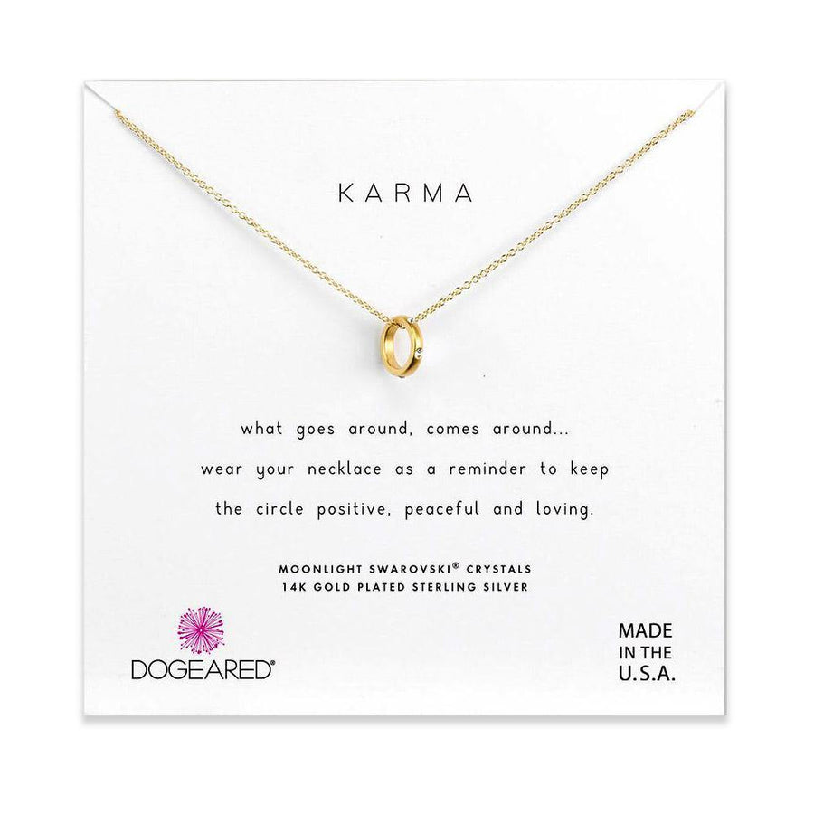 mini sliding karma ring necklace, gold dipped