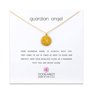 guardian angel necklace, gold plated