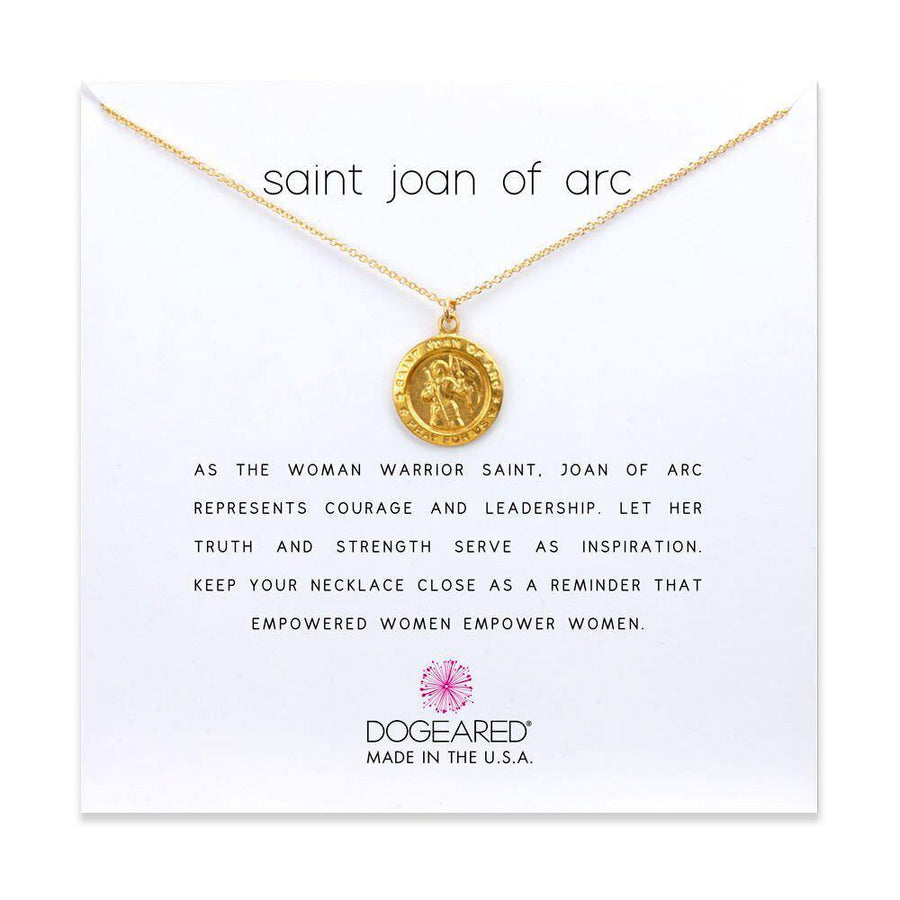 saint joan of arc necklace, gold dipped