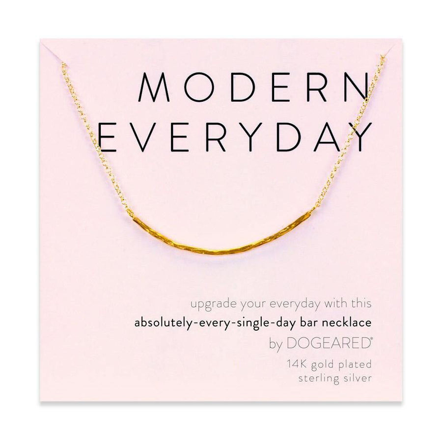 modern everyday hammered bar necklace, gold dipped
