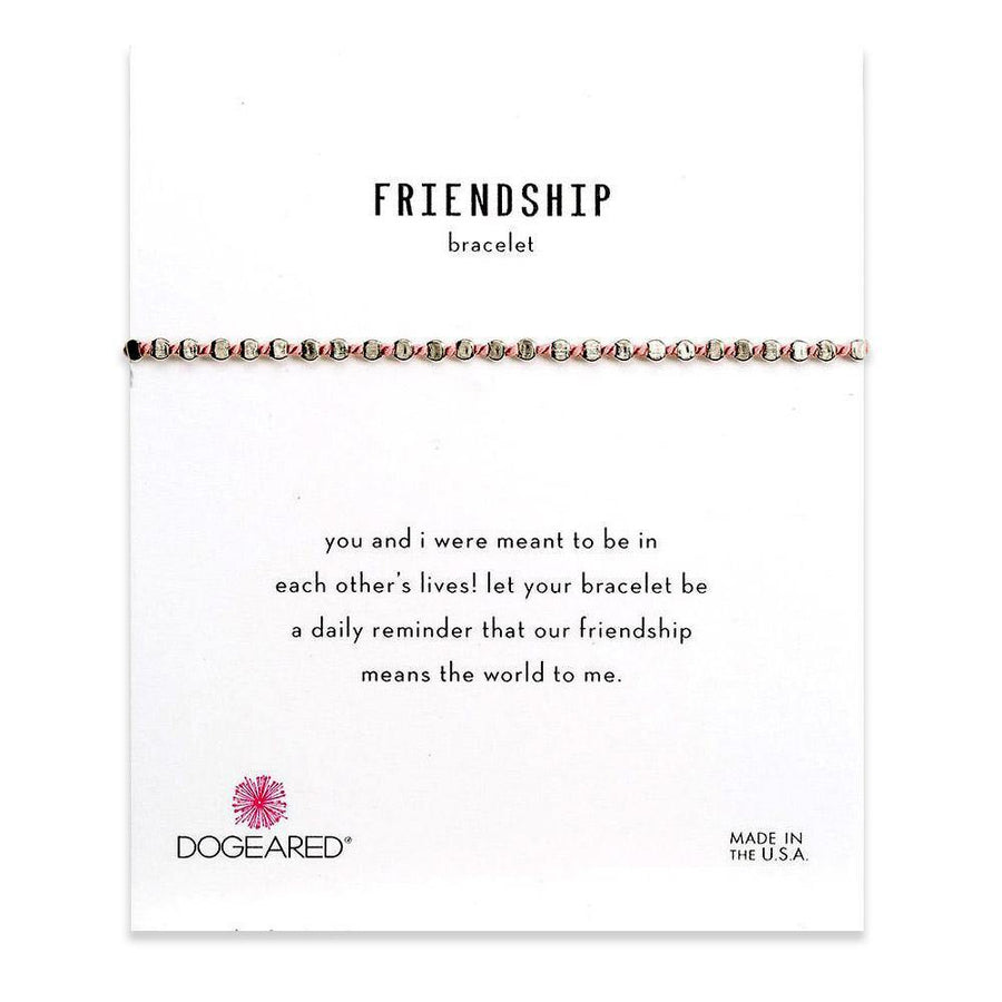 flat bead friendship bracelet, pink silk
