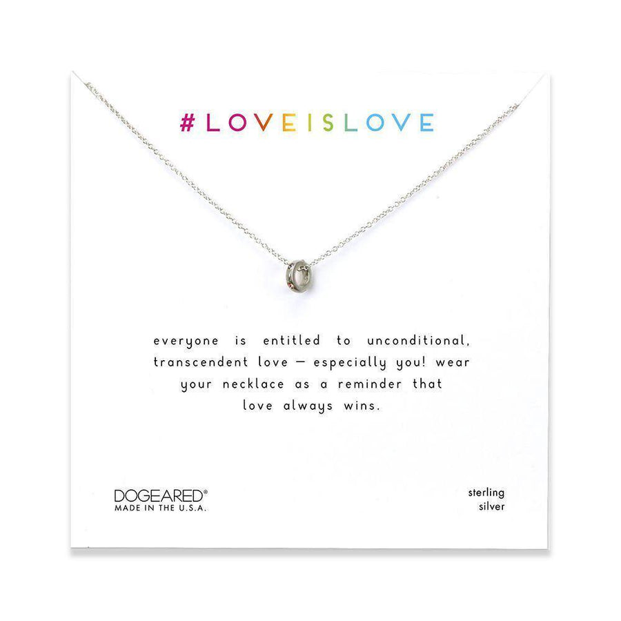 love is love teeny rainbow ring necklace, sterling silver