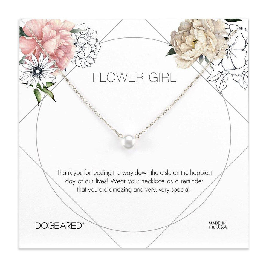 flower girl pearl necklace, sterling silver