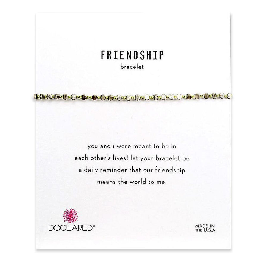 flat bead friendship bracelet, green silk & sterling silver