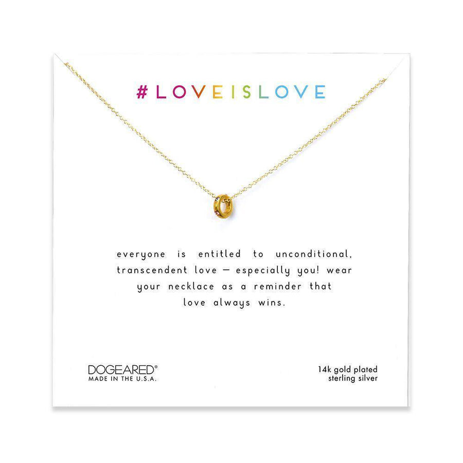 love is love teeny rainbow ring necklace