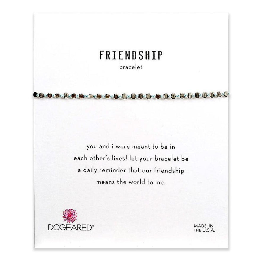 flat bead friendship bracelet, blue silk