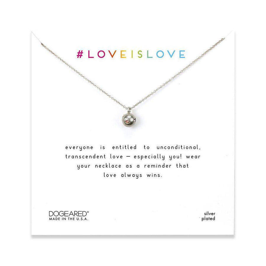 love is love rainbow sphere necklace, sterling silver