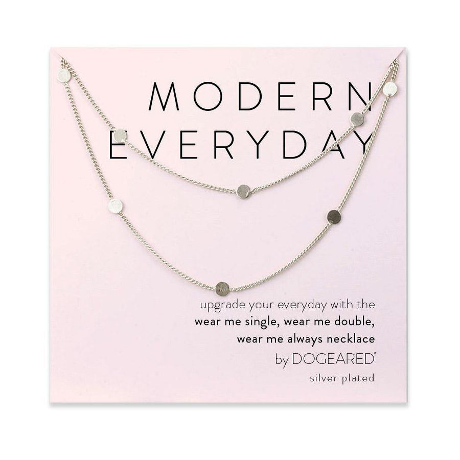modern everyday long multi-circle chain necklace