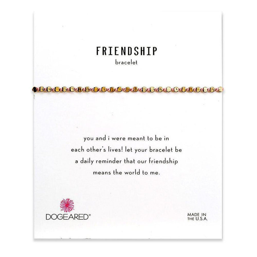 flat bead friendship bracelet, pink silk & gold dipped