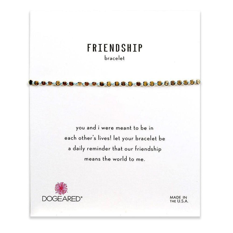 flat bead friendship bracelet, blue silk & gold dipped