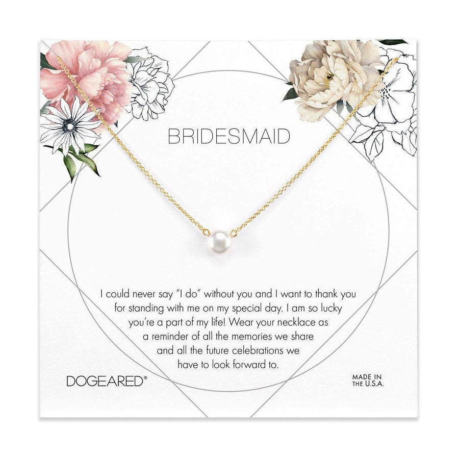 bridesmaid flower card, Small button white pearl