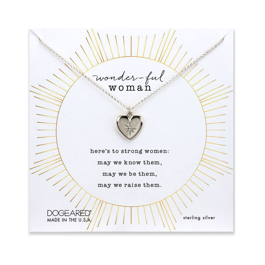 wonder-ful woman heart necklace with crystal