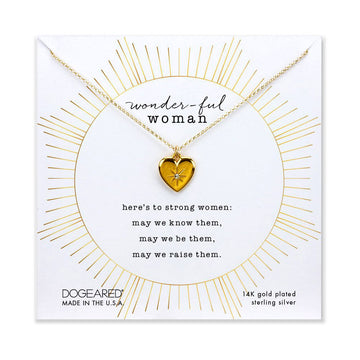 wonder-ful woman heart necklace with crystal, gold plated