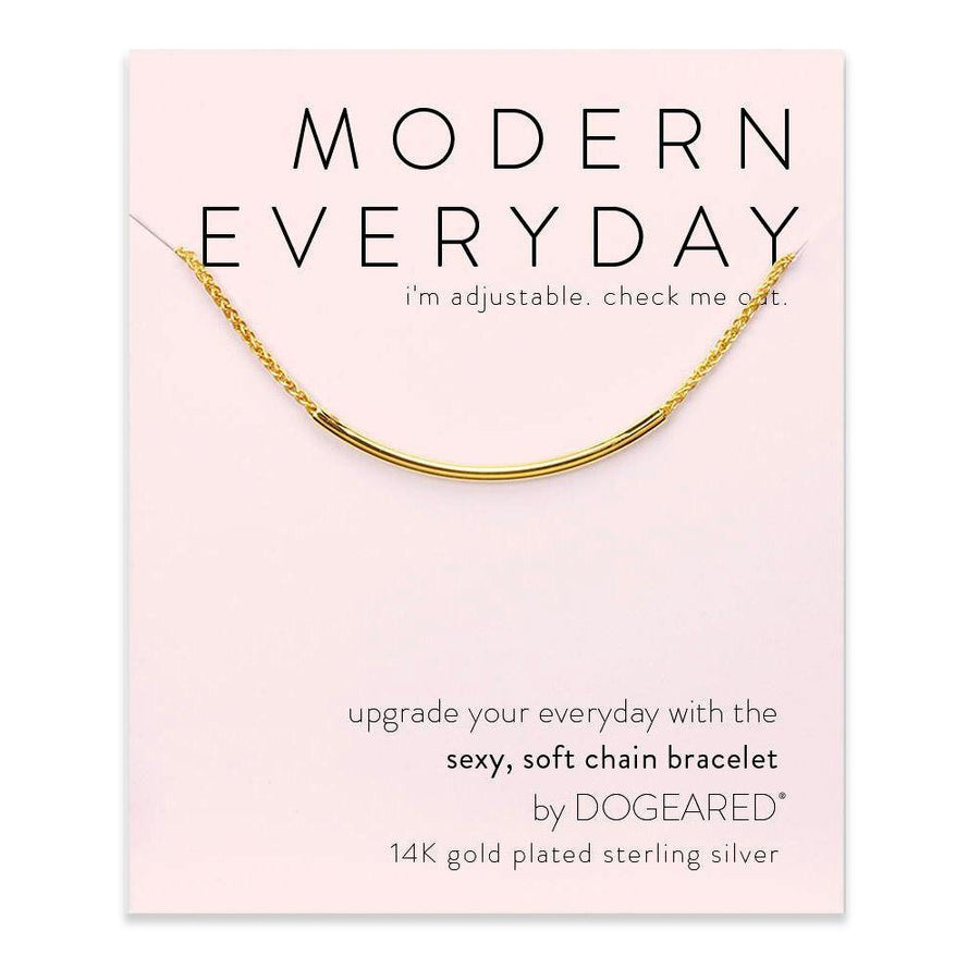 modern everyday tube bracelet, gold dipped