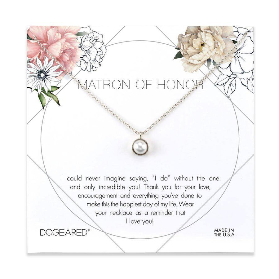 matron of honor bezel-set pearl pendant necklace, sterling silver
