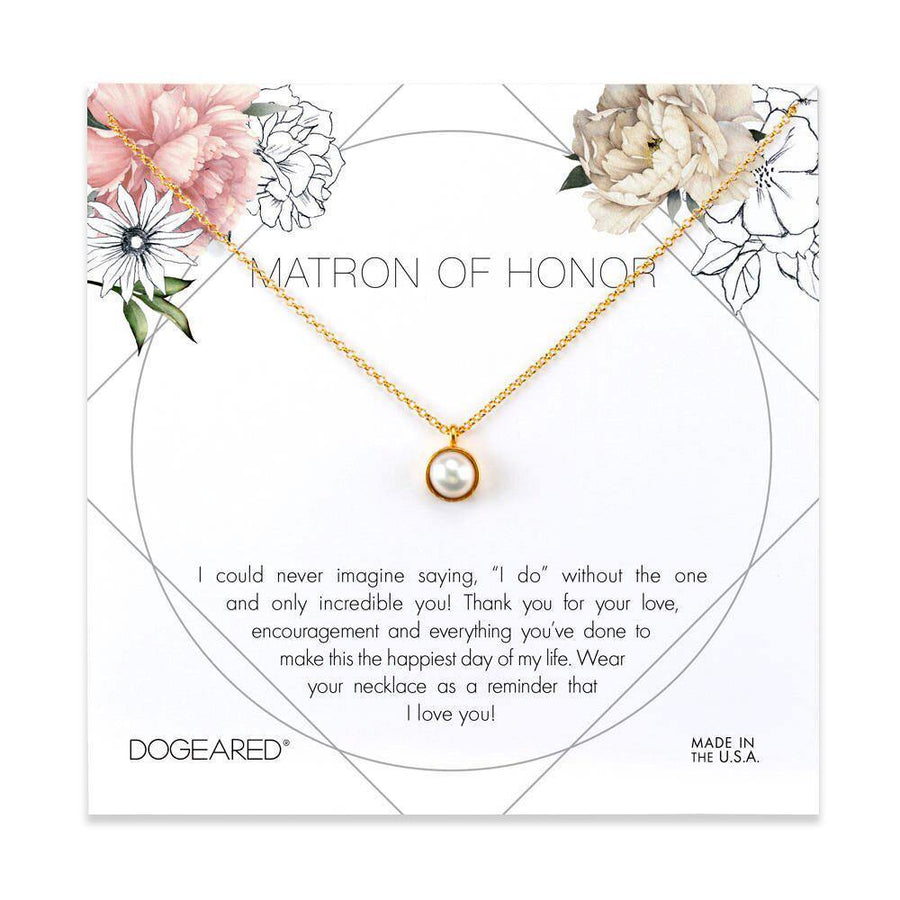 Matron of Honor flower card, large bezel pearl