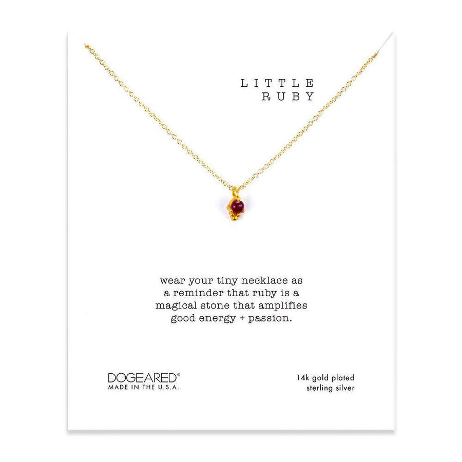 wear your tiny necklace as a reminder that ruby is a magical stone that amplifies good energy + passion!
