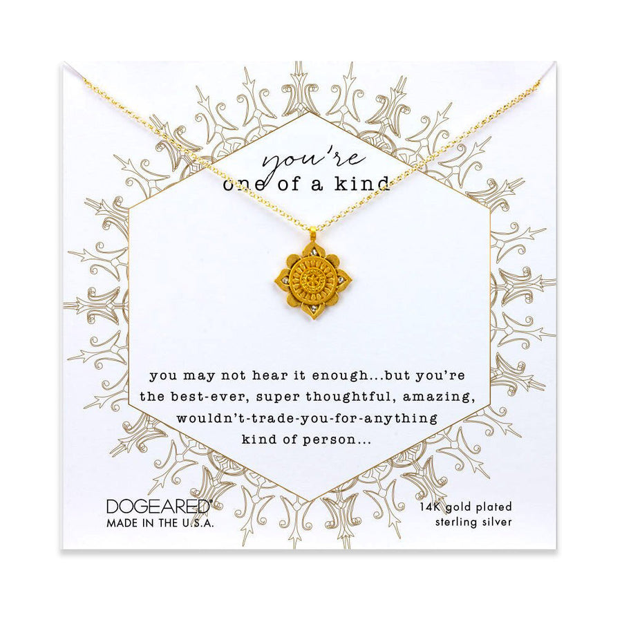 you're one of a kind mandala necklace, gold dipped