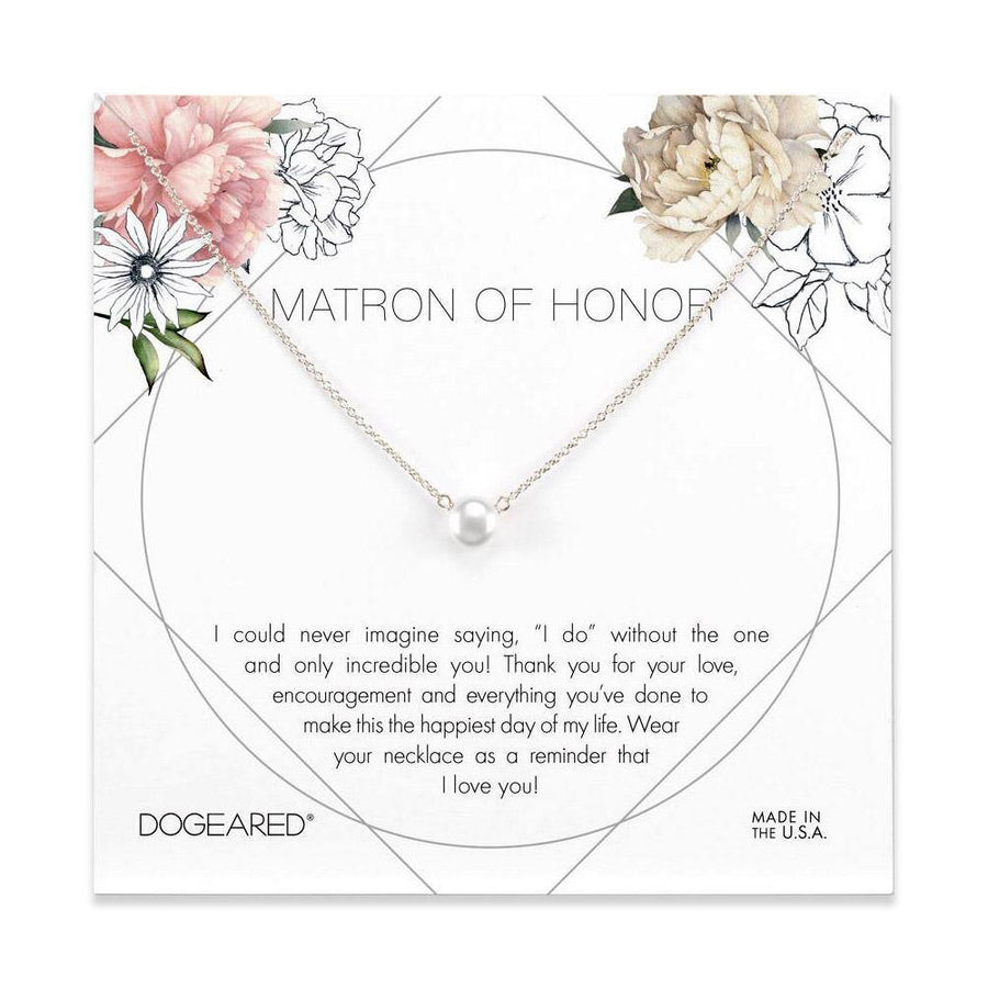 Matron of Honor flower card, pearl necklace
