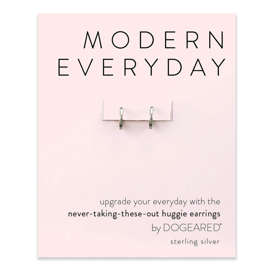 modern everyday huggie earrings, Sterling Silver