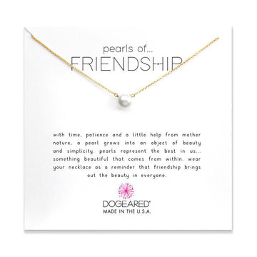 pearls of friendship large white pearl necklace, gold dipped