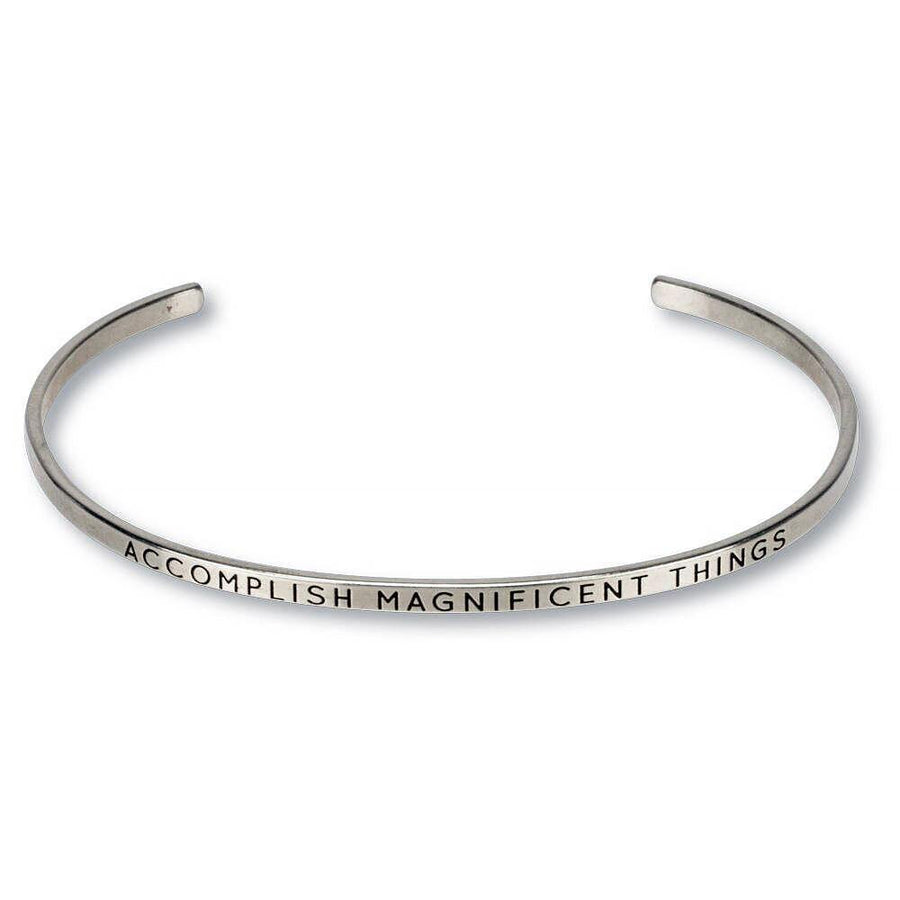 accomplish magnificent things engraved thin cuff, silver
