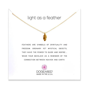 light as a feather necklace, gold dipped